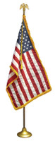 Deluxe U.S. Nylon Indoor and Parade Flag Set with Flag