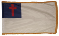Christian Nylon Indoor Flags with Pole Hem and Fringe