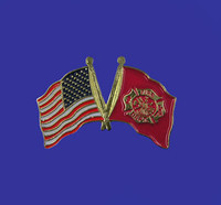 U.S./Fire Department Double Flag Lapel Pin