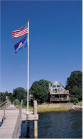 Dock or Deck Mount for 20' Telescoping Flag Pole - Vertical