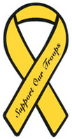 "4"" Yellow Ribbon Magnet - ""Support Our Troops"""