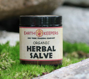 EarthKeepers Organic Salve is a powerful skin food derived from a unique combination of herbs and oils selected for their individual, as well as complementary, healing properties. Our concentrated formula consists of organic and/or wild crafted chamomile, calendula, yarrow, comfrey leaf and root, chaparral, button and Virginia snakeroot, devils claw, lavender, yellow dock, and ashwaganda (Indian s'ang) carefully infused in cold-pressed virgin olive oil and the finest creamy golden bees wax.