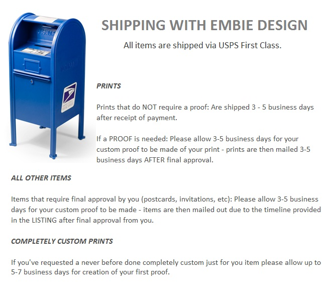 Shipping with Embie Design