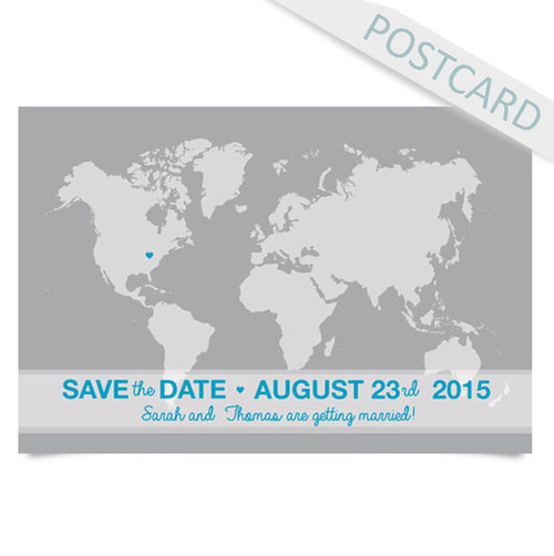 Simple world map save the date postcards embie design simple world map save the date postcards image 1 gumiabroncs Images