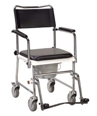 Drive Medical Folding, Portable, Upholstered Commode with Wheels and Drop Arm