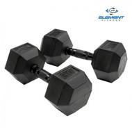 Element Fitness Virgin Rubber Commercial Hex Dumbbells - low odor- 50 lbs