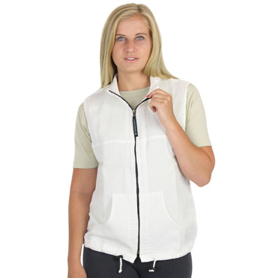 Light Corded Cotton Zip Poncho Vest White