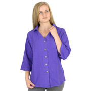 Mirage Cotton Seersucker 3 Qtr Sleeve Blouse (544) MARDI GRAS
