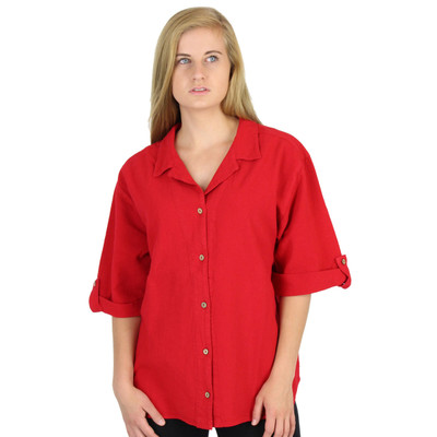 Crinkle Cotton Half-Sleeve Tab Shirt (370) Ruby Red
