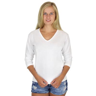 Cotton 3/4 Sleeve V-Neck Tee White