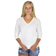 Cotton 3/4 Sleeve V-Neck Tee White