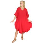 Crinkle Cotton Kaftan Dress Race Red