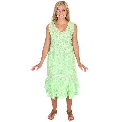 100% Cotton Tiered V-Neck Dress Light Gauze Cotton Seaglass