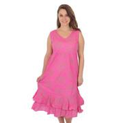 100% Cotton Tiered V-Neck Dress Light Gauze Cotton Sorbet