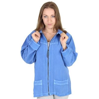 Long Sleeve Corded Zip Up Jacket (653) Sky