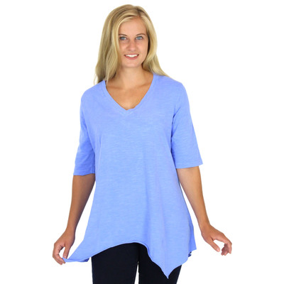 100% Cotton 1/2 Sleeve Asymmetric V Neck Tunic Peri