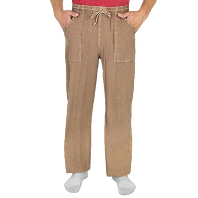 Cotton Pocket Drawstring Mid Weight Pant for Men Earth