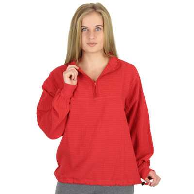 Mirage Cotton Cuffed Long-Sleeve Mandarin Top (576CUFFED)  RED
