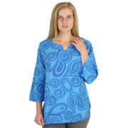 Cotton Split Neck Long 3/4 Sleeve Tunic Waves