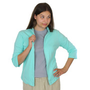 3/4 Sleeve Open Cotton Cardigan Seafoam