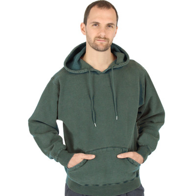 CottonMill 100% Heavy Cotton Mens Hooded Pullover Sweatshirt - Forest Sand