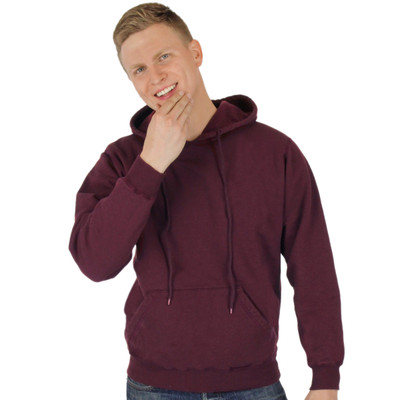 CottonMill 100% Heavy Cotton Mens Hooded Pullover Sweatshirt - True Burgundy