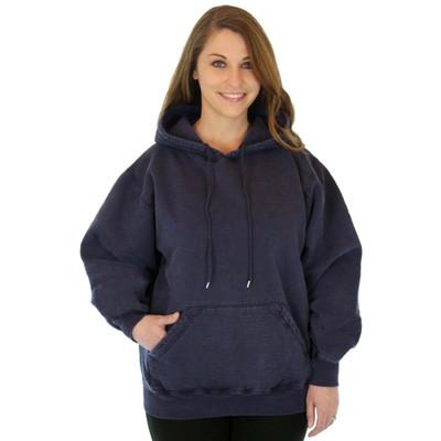 100% Heavy Cotton Womens Hoodie Pullover Sweatshirt - Dark Navy