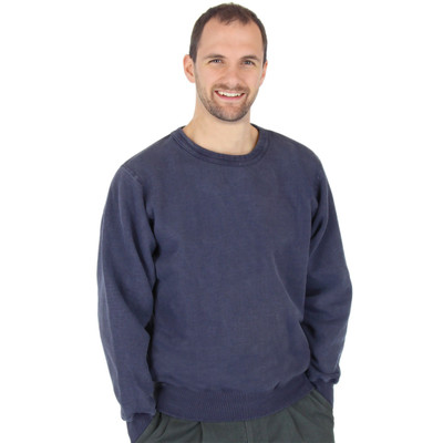 100% Heavy Cotton Crewneck Sweatshirt - Navy Sand
