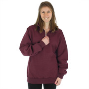 100% Heavy Cotton Zip Neck Polo Sweatshirt - True Burgundy