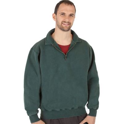 100% Heavy Cotton Zip Neck Mens Polo Sweatshirt - Forest Sand