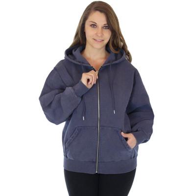 100% Heavy Cotton Fleece Full-Zip Hoodie Jacket - Navy Sand