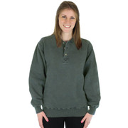100% Heavy Cotton 3-Button Polo Sweatshirt - Forest Sand