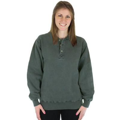 100% Heavy Cotton 3-Button Polo Sweatshirt - Forest Sand