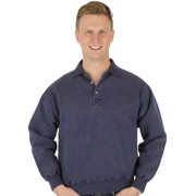 100% Heavy Cotton 3-Button Polo Sweatshirt - Navy Sand