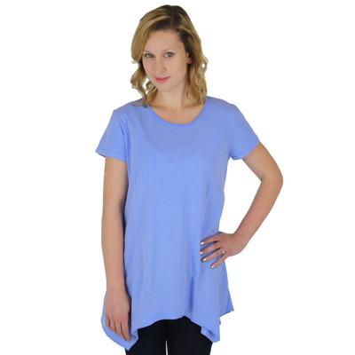 100% Cotton Slub Jersey Scoop Neck Asymmetric Tunic Peri