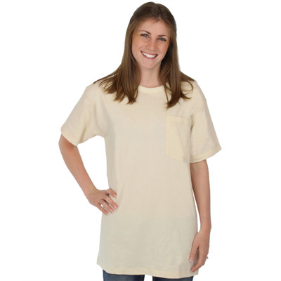 NATURAL Pocket Tee 100% Organic Cotton Hypoallergenic Crew Neck