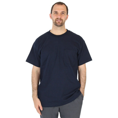Mens 100% Cotton Pocket Tee Crew Neck Heavy 6.1oz Navy