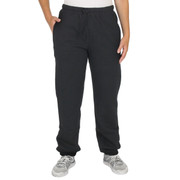 THICK All-Cotton Beefy 20oz CUFFED SWEAT PANTS for Women Black
