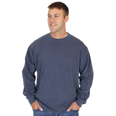 100% Organic Cotton Crew Long Sleeve Tee Mens - Washed Navy