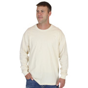 Mens NATURAL Long Sleeve 100% Organic Cotton Hypoallergenic Crew Neck Tee Grown and Made in USA