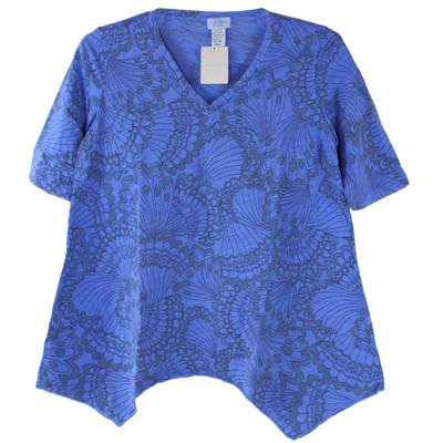 BeachComber 100% Cotton 1/2 Sleeve Asymmetric V Neck Tunic - Peri Front