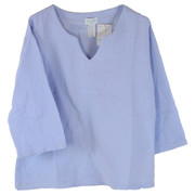 100% Cotton Double Gauze 3/4 Sleeve V Neck Top - Front