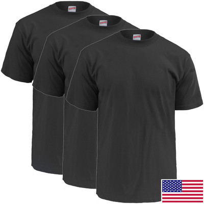 Mens 100% Cotton Crew Neck Black Tee - 3 Pack - Made in USA