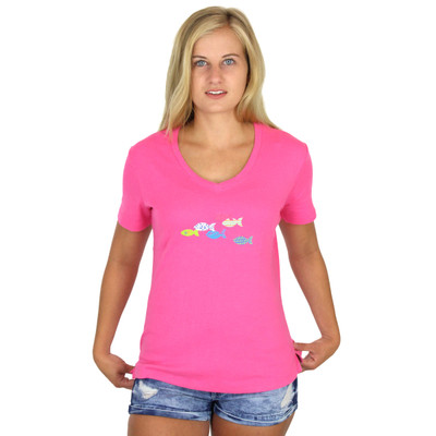 Rib Knit Cotton Short Sleeve Tees with Designs - School of Fish on Sorbet