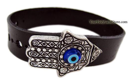 Leather Bracelet with Evil Eye and Hamsa