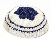 Blue and White Knitted Kippah