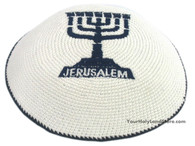 Knitted Kippah with Embroidered Menorah