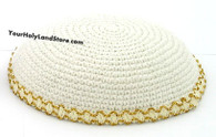 WHITE KNITTED JEWISH KIPPAH