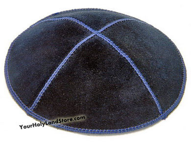 Blue Leather Kippah