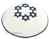 Knitted Jewish Kippah with Stars of Magen David